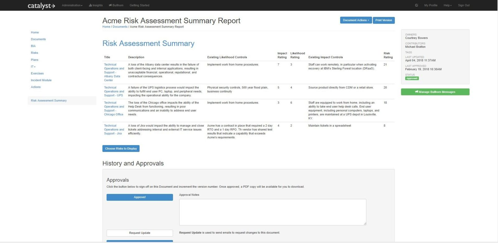 Risk Assessment Risk Report